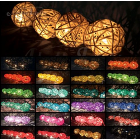 10.5ft LED Rattan Ball String Lights 20 LED Romantic Fairy Night Light Outdoor Indoor String Lights For Home Decor Party Bedroom Christmas Halloween Battery Charger