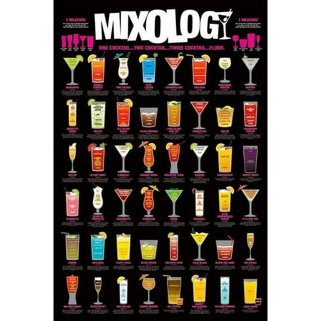Mixology Cocktail Mixed Drinks Chart Poster 24x36 by