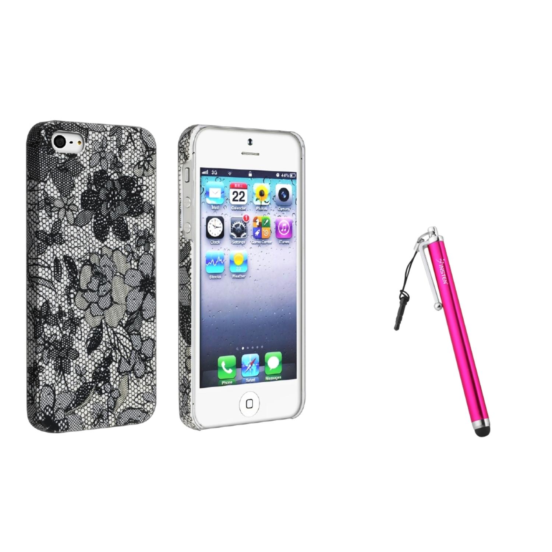 Insten Pretty Black Flower Rubber Back Case for iPhone 5S 5 Gen 5th+Pink Stylus Pen