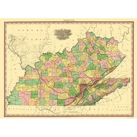 State Map Kentucky.Old State Map Kentucky Tennessee Part Of Illinois Tanner 1823
