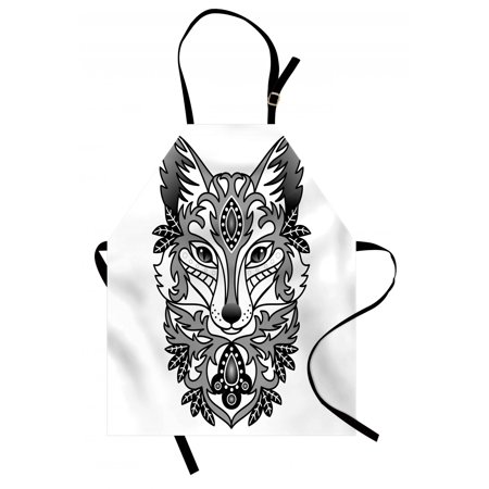 Fox Apron Ornamental Fox Face with Tree Leaves Oval Shapes Dots Floral Curves Art Print, Unisex Kitchen Bib Apron with Adjustable Neck for Cooking Baking Gardening, Grey Black White, by