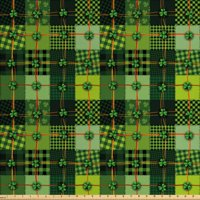 Irish Fabric by The Yard, Patchwork Style St. Patrick's Day Themed Celtic Quilt Cultural Checkered Clovers, Decorative Fabric for Upholstery and Home Accents, by Ambesonne