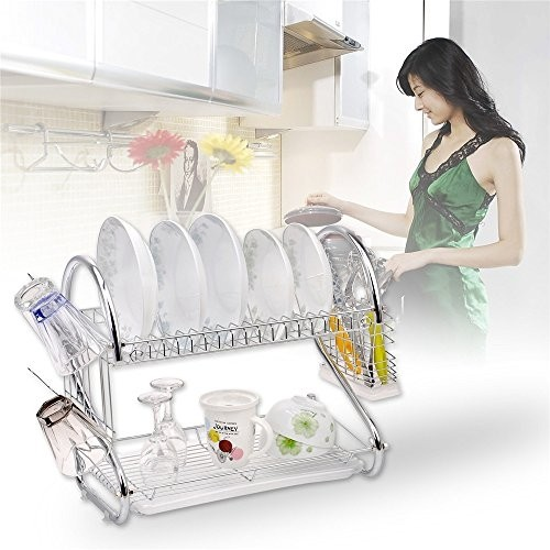 Practical 2 Tiers Stainless Steel Kitchen Quick Dry Dish Cup Rack Drainer Drip Tray Plates Holder With Removable Drip Tray