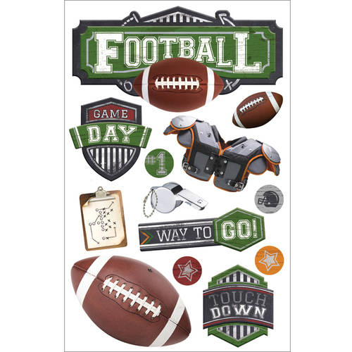 "Paper House 3D Stickers, 4.5"" x 8.5"", Football #2"