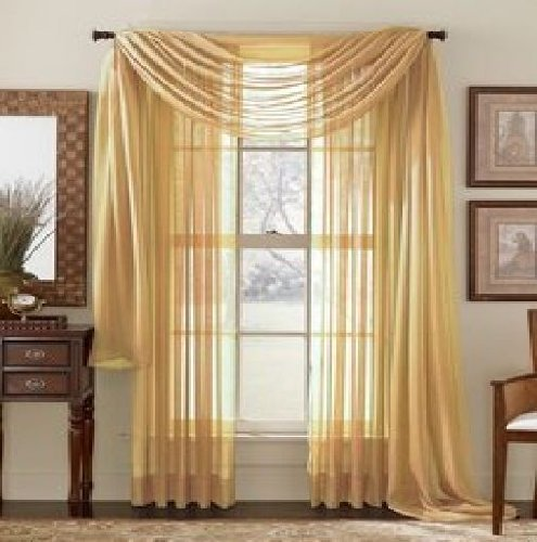 Elegant Comfort® 2 Piece Solid SHEER PANEL with ROD POCKET - Window Curtain  40-inch width X 84-inch Length -  Gold