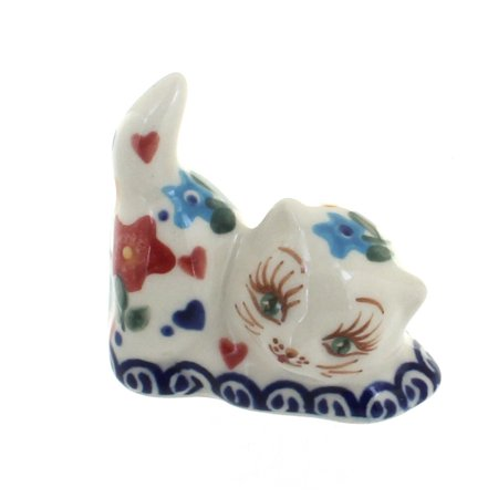 Polish Pottery Butterfly Petite Decorated Cat Figurine