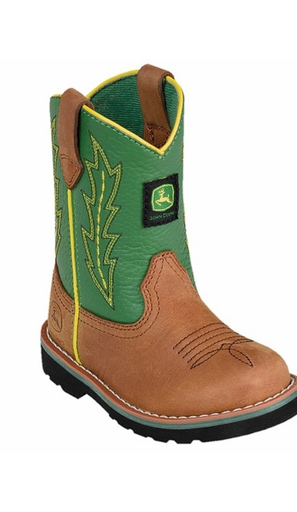 John Deere Johnny Popper Tan and Green Infant Boots JD1186 by John Deere