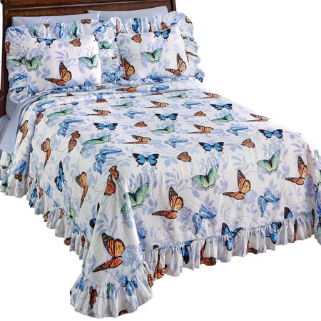 Butterfly Floral Plisse Ruffled Edge Lightweight Bedspread, Full, Bedspread features colorful butterflies in shades of orange, blue and green, accents of a light floral.., By Collections Etc ()