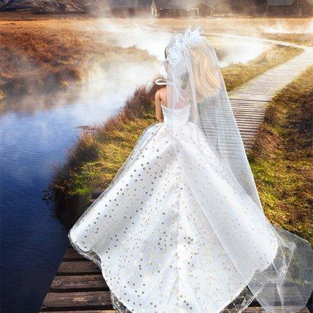 Gorgeous Princess Dolls Sequin Halter Veil Wedding Party Maxi Dress for 29CM Dolls Color:White