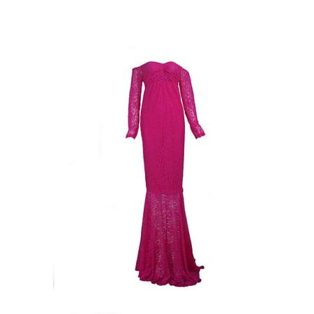 8d22cc81de591 DYMADE - DYMADE Women's Off Shoulder Long Sleeve Lace Mermaid Maternity  Gown Maxi Photography Dress - Walmart.com