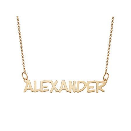 Personalized Capitalized Name 14kt Gold-Plated Necklace, 18""