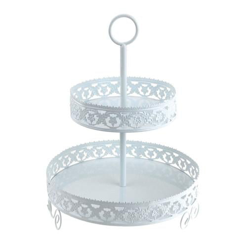 Unique Double Tier Metal Cupcake and Treat Stand with Eyelet Party decorations for all occasions