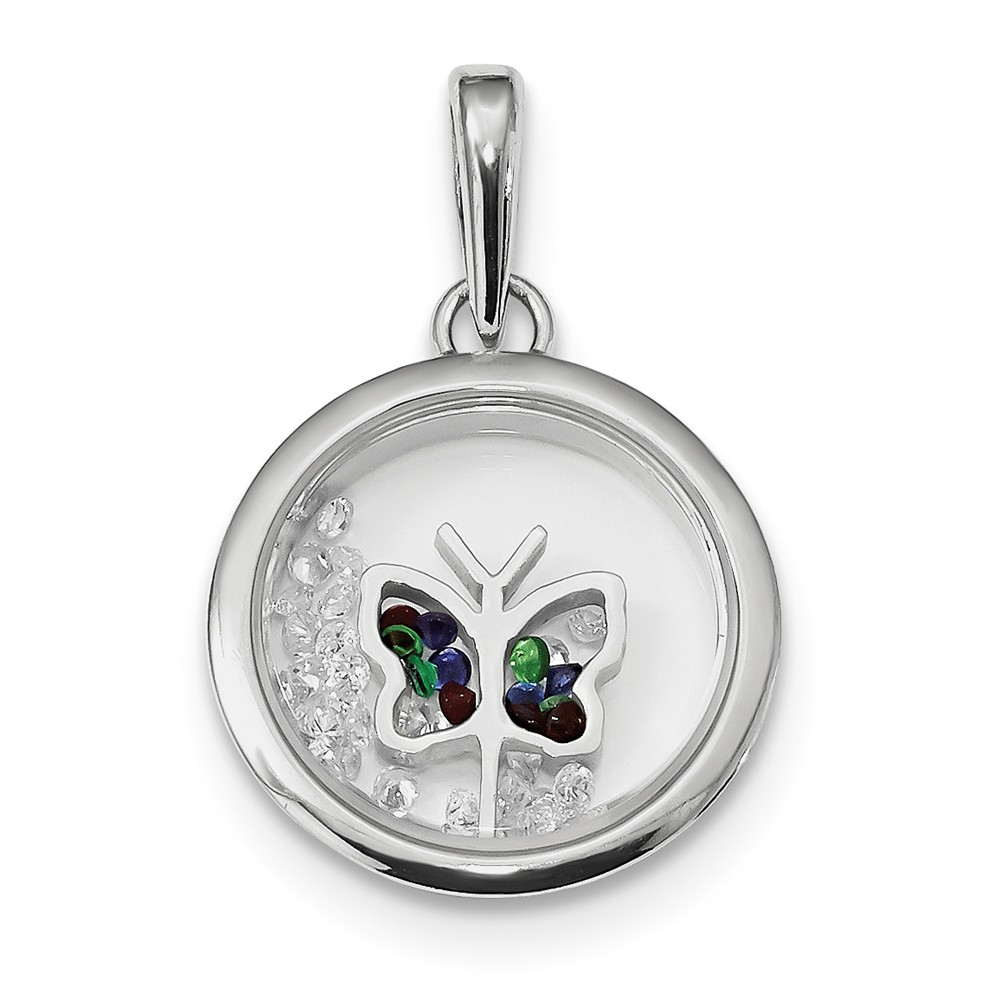 Sterling Silver Butterfly and Floating Glass Beads Pendant.