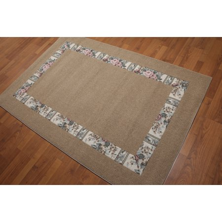 - 4'x6' Natural Multi Color Machine-Made Sisal Rug Sea Grass Contemporary Oriental Rug