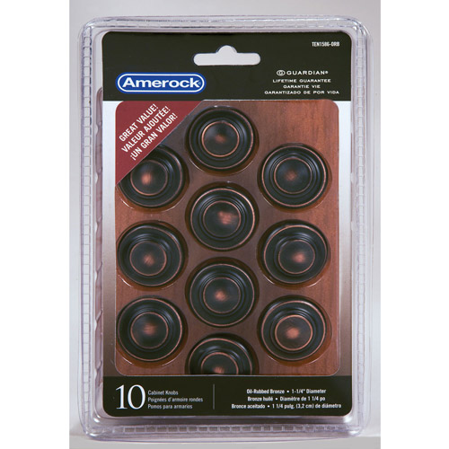 "Amerock Oil-Rubbed Bronze 1-3/8"" Traditional 3-Ring Knobs, 10pk"