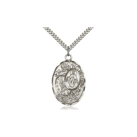 Large Detailed Mens 925 Sterling Silver Miraculous Immaculate Conception Virgin Saint Mary Pendant 1 3 8 X 7 8  On A 24 Stainless Curb Chain Necklace Gift Boxed