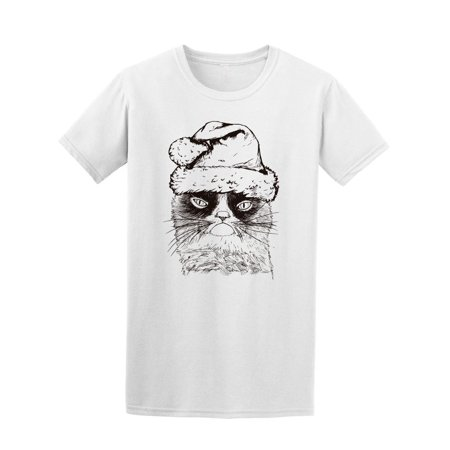 Hand Drawn Cat With Santa Hat Tee Men's -Image by Shutterstock - Cat With Santa Hat