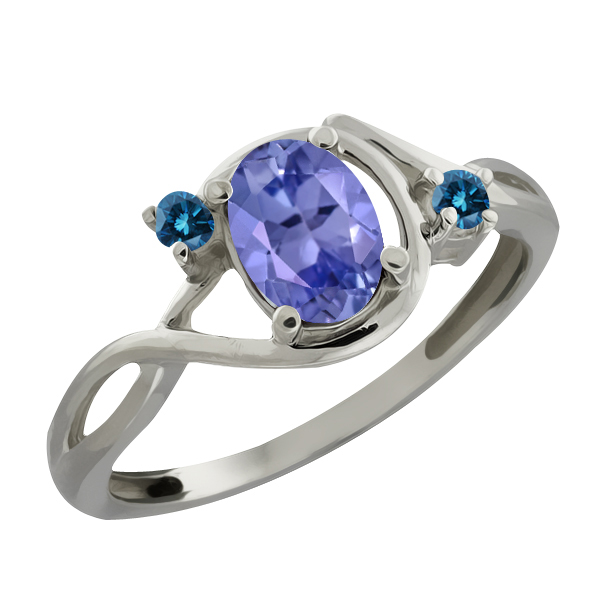 0.81 Ct Oval Blue Tanzanite and Blue Diamond Sterling Silver Ring