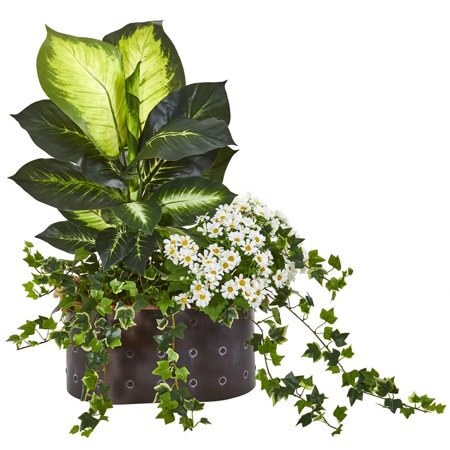 - Nearly Natural 29? Golden Dieffenbachia, Ivy and Daisy Artificial Plant in Planter