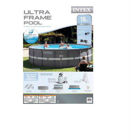 intex 18 x 43 foot ultra frame swimming pool set with 1600 gph sand filter pump walmartcom