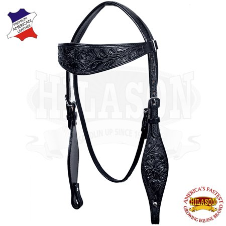 Western Horse Headstall Tack Bridle American Leather Black Hand Carved Black Leather Horse Halter