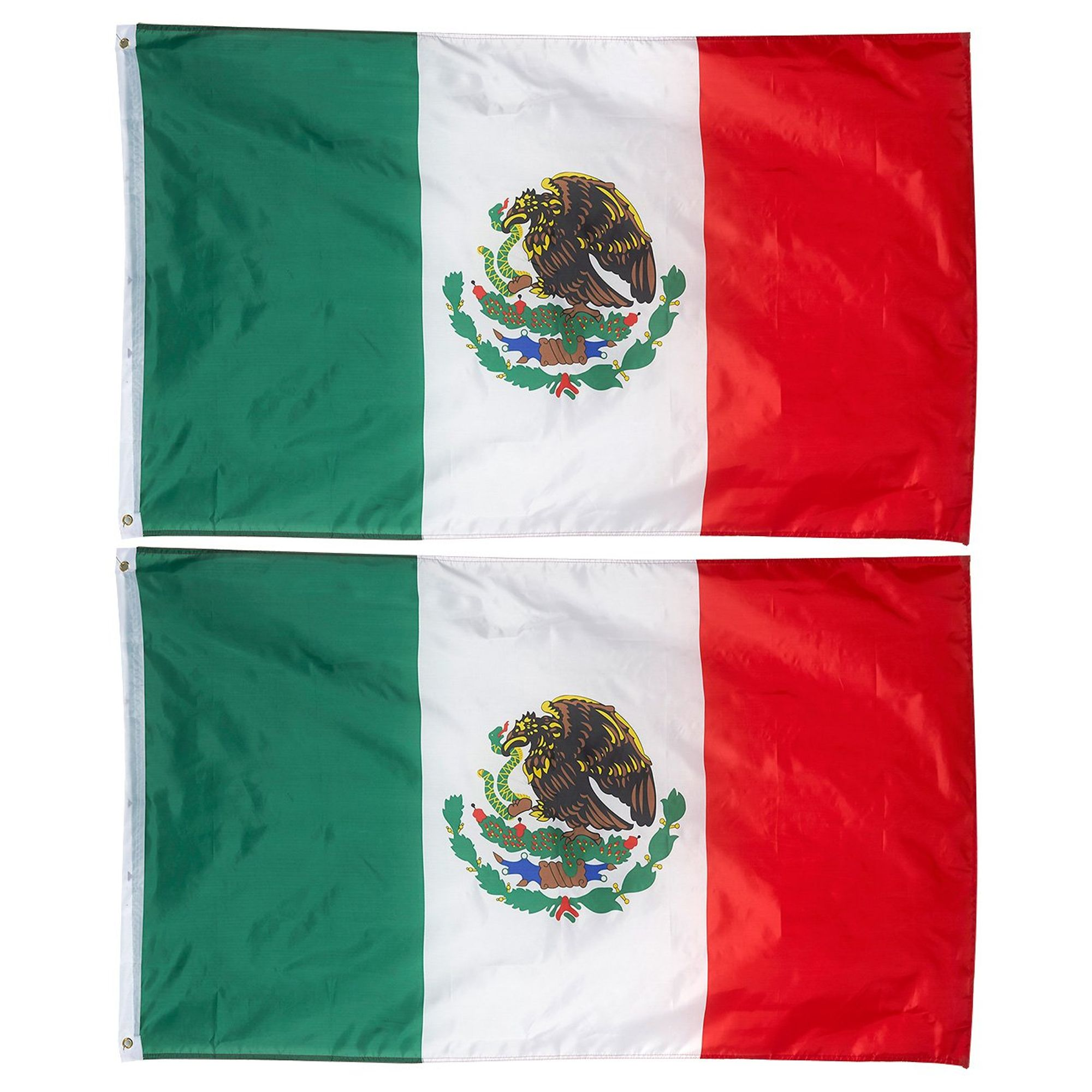 2 Pack 3x5 Foot Mexico Flags Mexican Mx National Flag Banner Outdoor Polyester With Brass Grommets Walmart Com Walmart Com