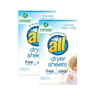 (2 Pack) all Fabric Softener Dryer Sheets Free Clear for Sensitive Skin, 120 Count