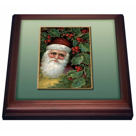 Holly Trivet (3dRose Victorian Santa Claus With Holly Leaves and Berries Vintage Card, Trivet with Ceramic Tile, 8 by)