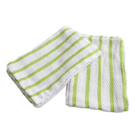 Gourmet Classics Green Striped Cotton Kitchen Towel, Set of