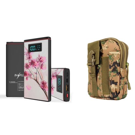 INFUZE Slim Pocket 12000mAh Portable Charger Dual (USB-A, USB-C) 18W QC 3.0 Power Bank (Cherry Blossom), Tactical Organizer Pouch (Jungle Pixel Camo) for Samsung Galaxy J3 (J3 V 3rd Gen, Star, Orbit) ()