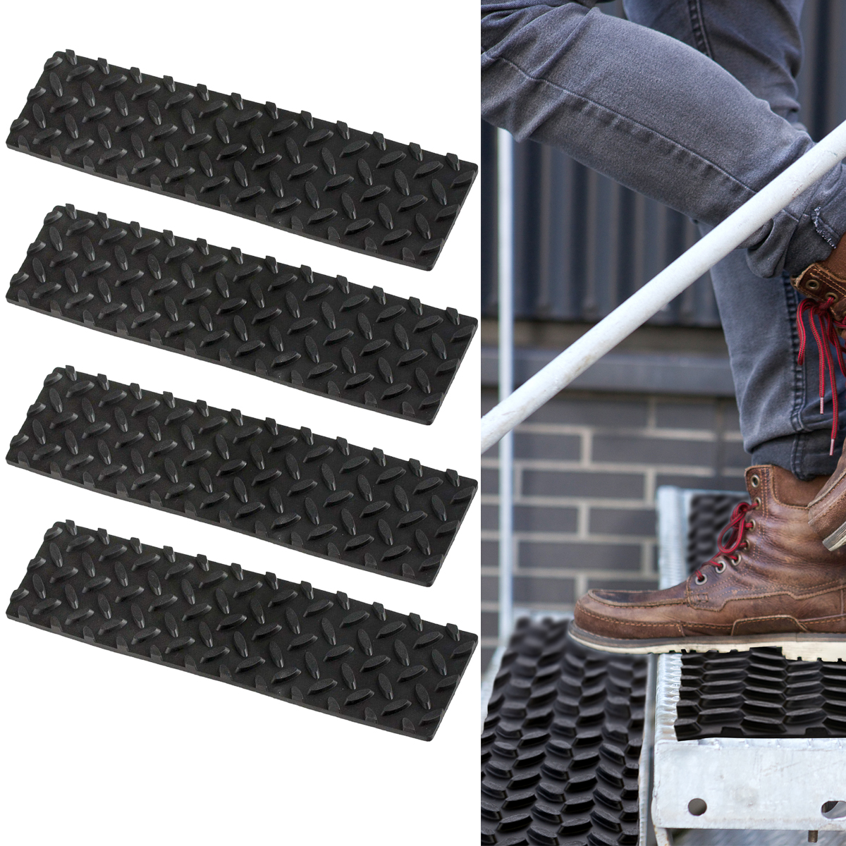 Keeper (4 Pack) Safety Step Non Slip Stair Treads For Indoor U0026 Outdoor  Stairs Rubber Tread Adhesive Strips