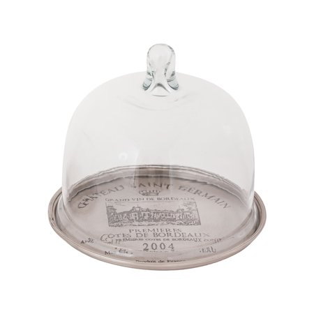 French Winery Tray with Cloche Antique Silver Trays