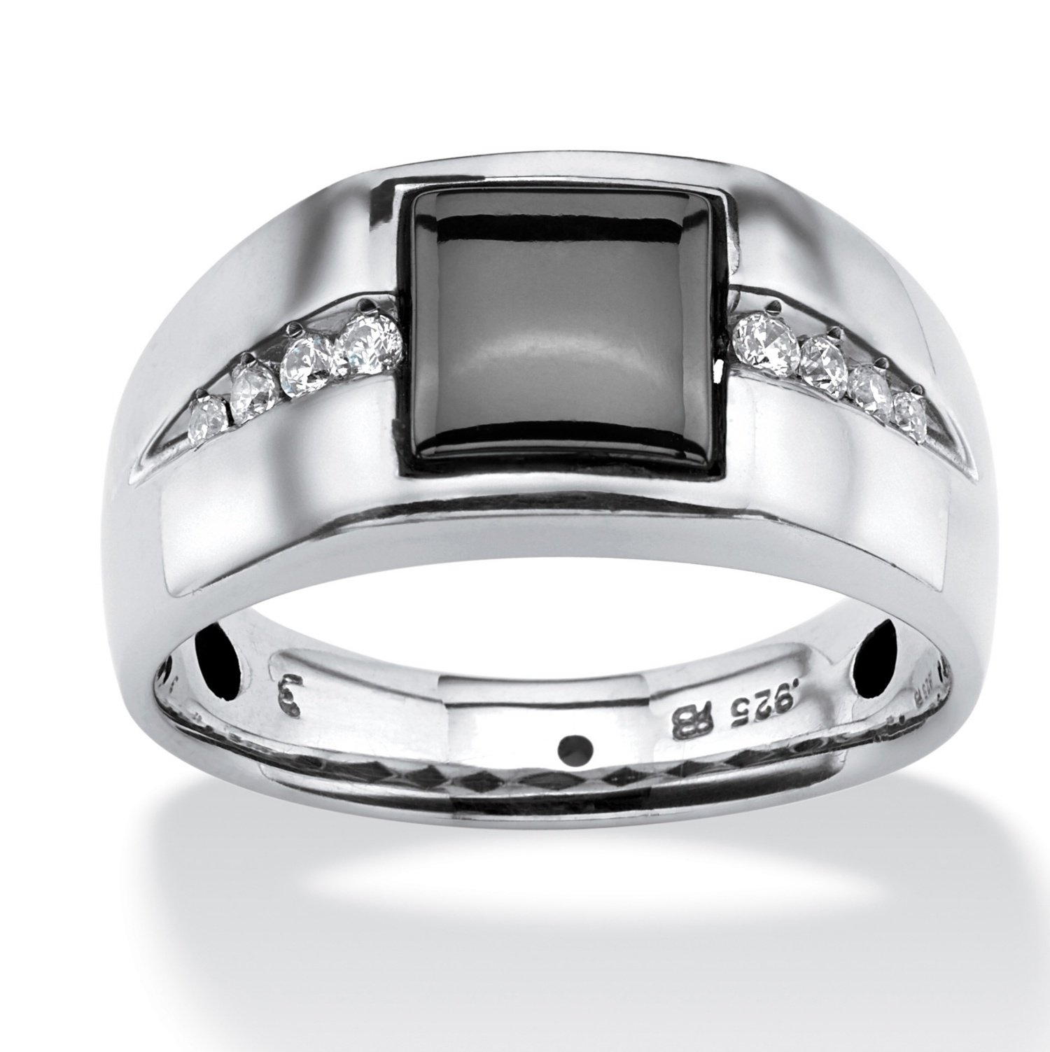 Men's .30 TCW Genuine Hematite and White Sapphire Ring in Platinum Over .925 Sterling Silver by PalmBeach Jewelry