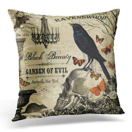 BPBOP Garden Modern Vintage Halloween Crow and Butterflies Pillowcase Cover 18x18 inch - Modern Halloween Decor