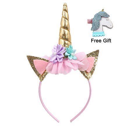 MDM PARTY - Gold Glitter Unicorn Horn Headband with Hair Clip ... ea3107e2581