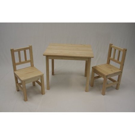 ehemco kids table and 2 chairs set solid hard wood unfinished. Black Bedroom Furniture Sets. Home Design Ideas