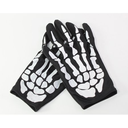 Pair of Skeleton Hand Bone Costume Gloves Halloween - Hand Skeleton