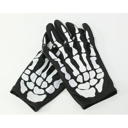 Pair of Skeleton Hand Bone Costume Gloves Halloween