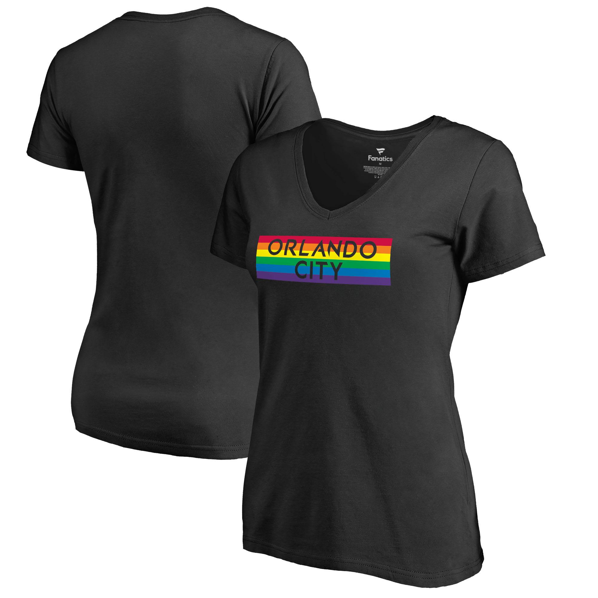 Orlando City SC Fanatics Branded Women's Pride Wordmark V-Neck T-Shirt - Black