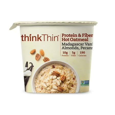 thinkThin Protein & Fiber Hot Oatmeal, Madagascar Vanilla Almonds Pecans, 6