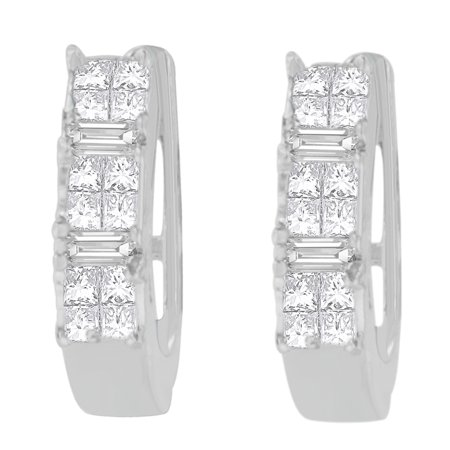 14kt White Gold 0.5ct. TDW Baguette and Princess-cut Diamond Earrings (H-I,VS1-VS2) Vs1 Vs2 Earrings
