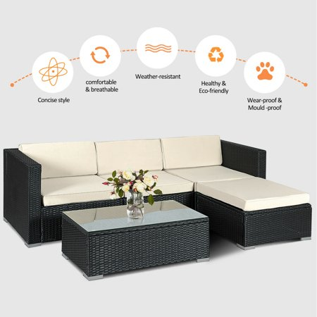 5PCS Rattan Wicker Table Shelf Garden Sofa Patio Furniture Set W/ Cushion Black - image 3 de 9
