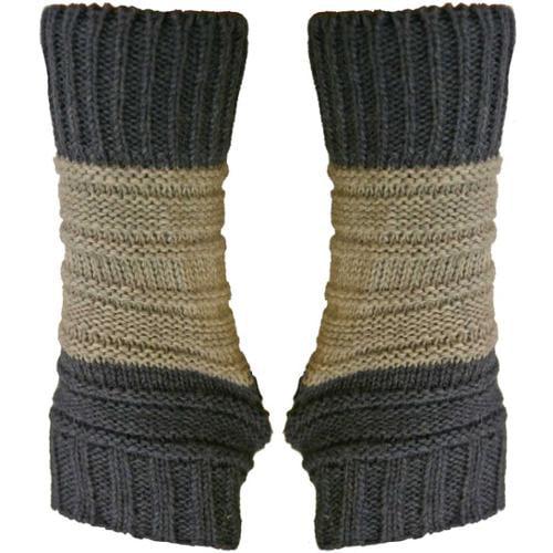 Luxury Divas Blue & Grey Block Stripe Two-Tone Fingerless Knit Gloves
