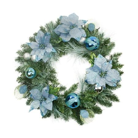 Regal Peacock Blue and Silver Poinsettia Artificial Christmas Wreath - 24-Inch (Artificial Poinsettia Wreath)