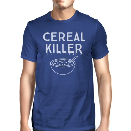 Cereal Killer T-Shirt Mens Blue Funny Graphic Halloween Tee Shirt