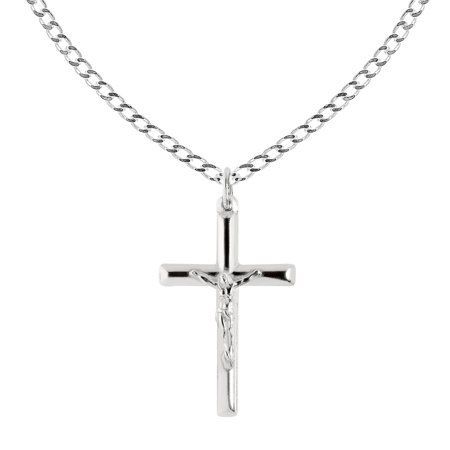 Mens Sterling Silver Crucifix - Sterling Silver Italian Crucifix Cross Pendant Necklace 18 Inches