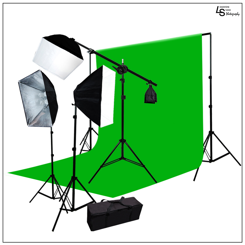 Triple Softbox Photo and Video Continuous Lighting Kit with 10'x 12' Chromakey Green Muslin and Travel Bag by Loadstone Studio WMLS0718