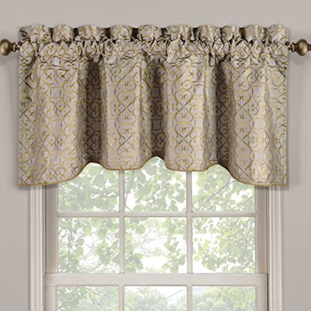 Taupe Scallop (Halifax Taupe Valance 50x19 inches, Scalloped Decorative Rope Embroidered Lined Valance, by Royal Hotel)
