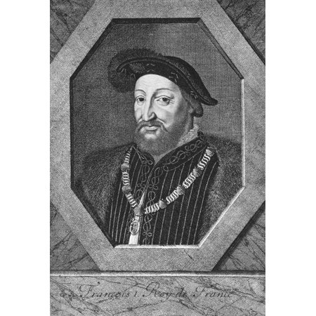 Francis I (1494-1547) Nking Of France 1515-1547 Wearing The Collar Of The Order Of St Michael Etching 17Th Century By Nicolas De Platte-Montagne Rolled Canvas Art -  (24 x