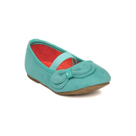 Jellies Embellishments - Jelly Beans Paroya Suede Bow Embellishment Mary Jane Ballerina Flat (Toddler)